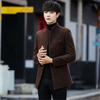 2018 New Wool blend Winter Coat Men Short Men's Jackets Korean Man Jacket Single Breasted Slim Mens Overcoat 4 color 5xl