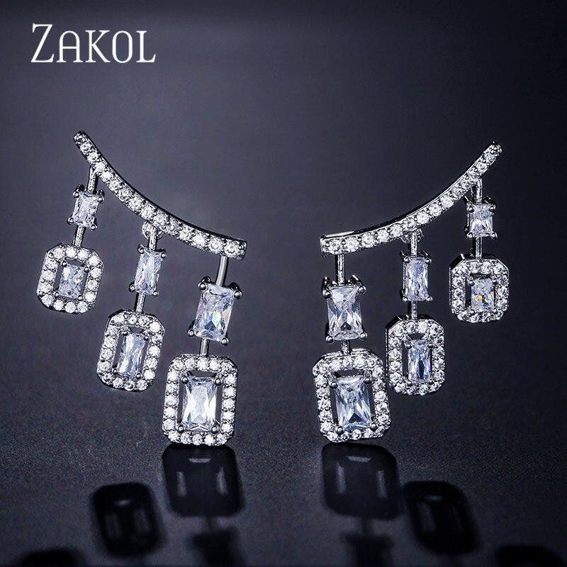 ZAKOL Punk Style or blanc cubique Zircon Boucles doreilles goutte lustre balancent longues Boucles doreilles pour mariée FSEP2031