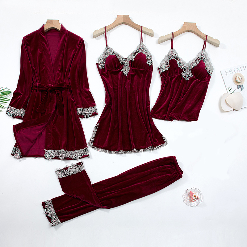 2020 Gold Velvet 4 Pieces and 5 Pieces Warm Winter Pajamas Sets Women Sexy Lace Robe Pajamas Sleepwear Kit Sleeveless Nightwear 1