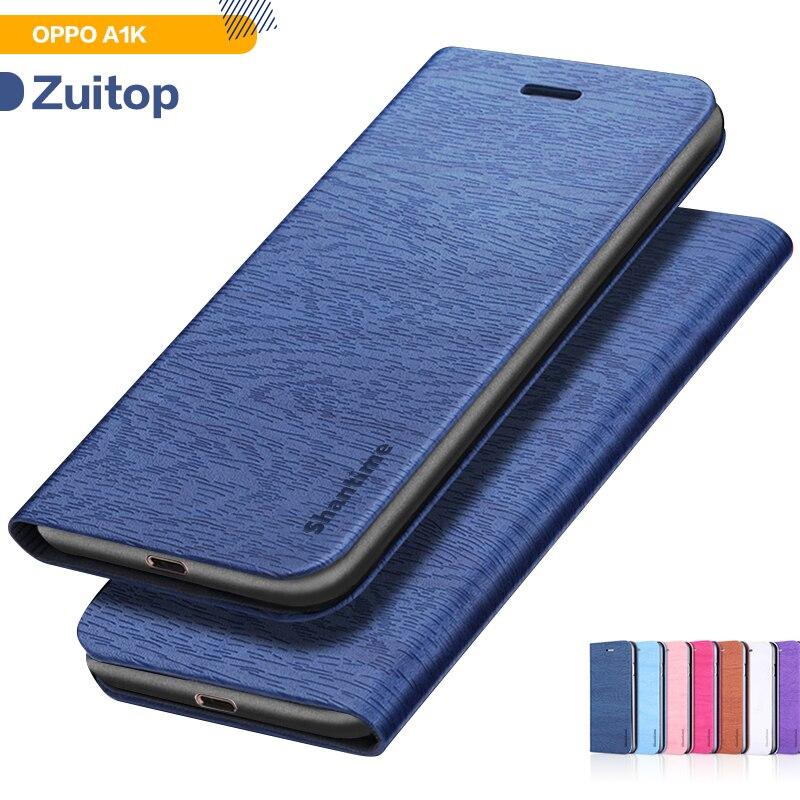 Etui de téléphone en cuir synthétique polyuréthane grain de bois pour OPPO A1K étui à rabat pour OPPO A1K étui portefeuille d
