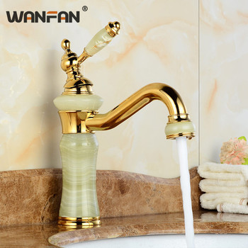 Basin Faucets Gold Modern Brass Tap Jewel Marble Bathroom Single Lever Deck Mounted Taps Concrete Mixer Washbasin Crane U-23