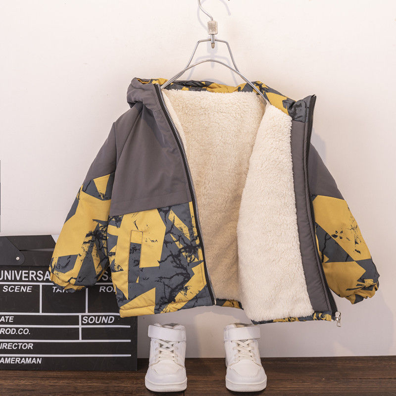 New Boys Jackets Windproof Thickened Children Coat Autumn Winter Thick Baby Cotton Clothes Warm Camouflage Hooded Jacket