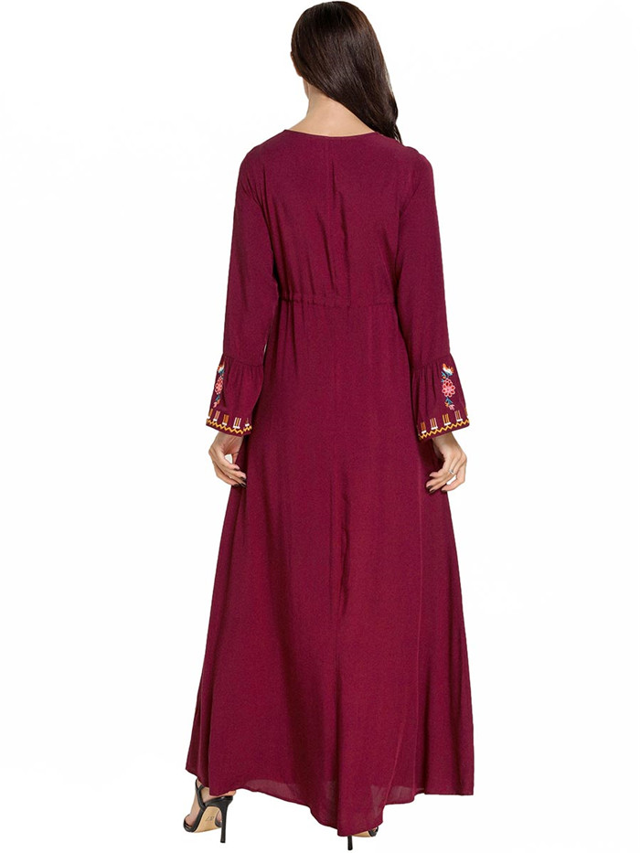 Women Long Dress Fashion Cozy Plus Size Red Print-floral V-neck New Muslim Arab Cozy Casual Big Swing Dresses