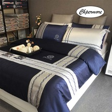 Chpermore Juego de cama de estilo europeo minimalista 100% funda nórdica de algodón, sábanas, fundas de almohada, 3/4 Uds. Tamaño doble reina rey