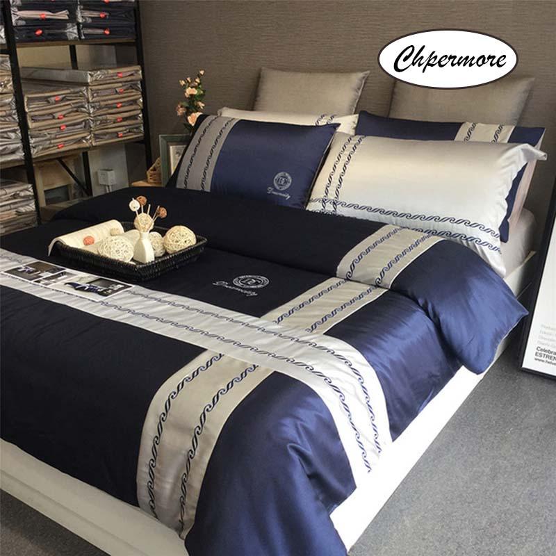 Chpermore ensemble de literie minimaliste européen 100% coton housse de couette ensembles draps de lit taies d'oreiller 3/4 PCS Twin Queen King Size