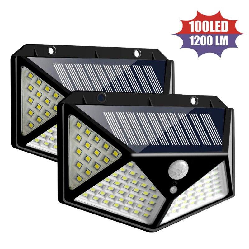 4pcs 4-side 100 LED Solar Light Outdoor Waterproof Solar Sunlight Powered Lamp PIR Motion Sensor Wall Light For Garden Decor