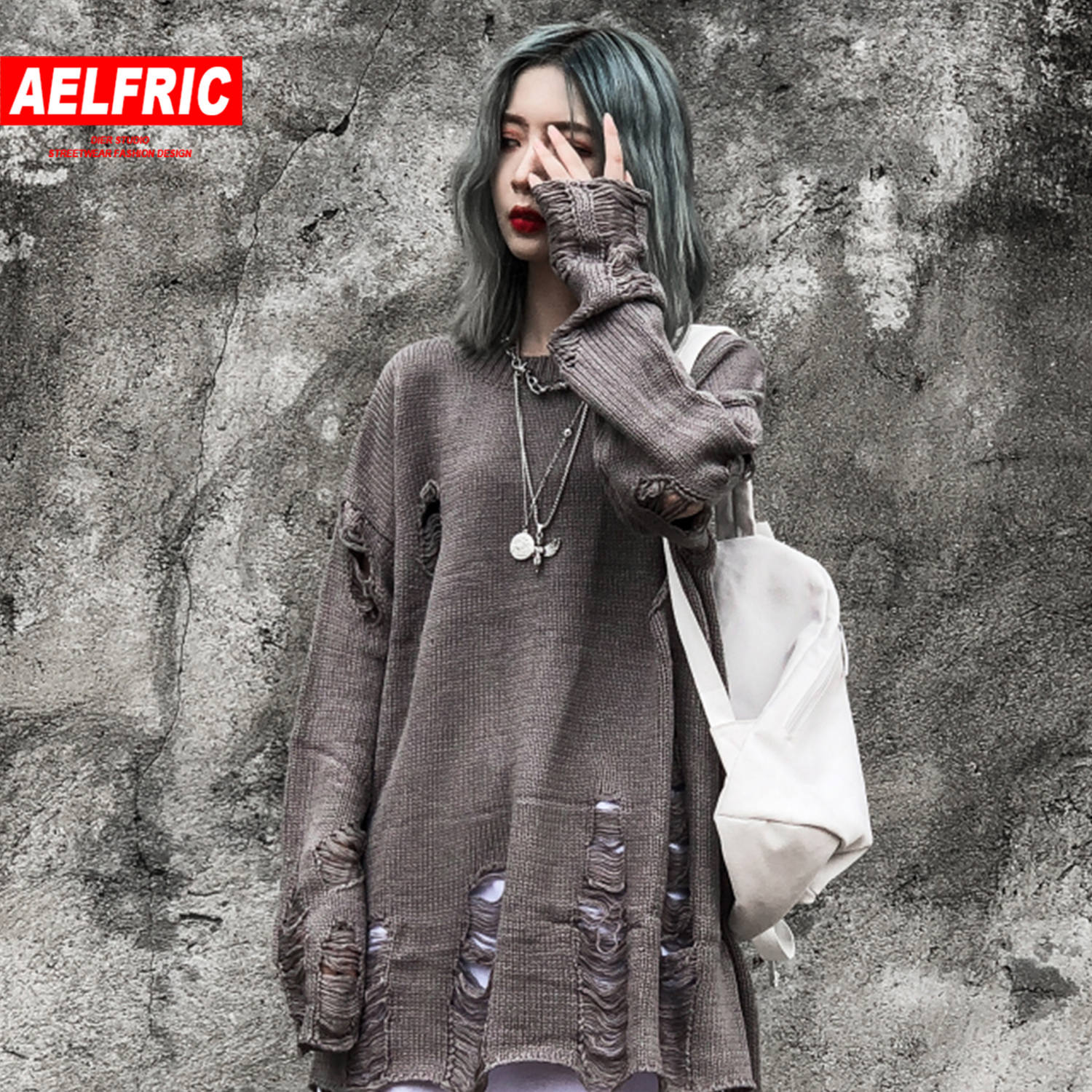 Aelfric Solid Ripped Knitted Womens Gothic Sweaters 2019 Harajuku Hip Hop Tops Fashion Streetwear Casua Lfemale Pullover Outwear