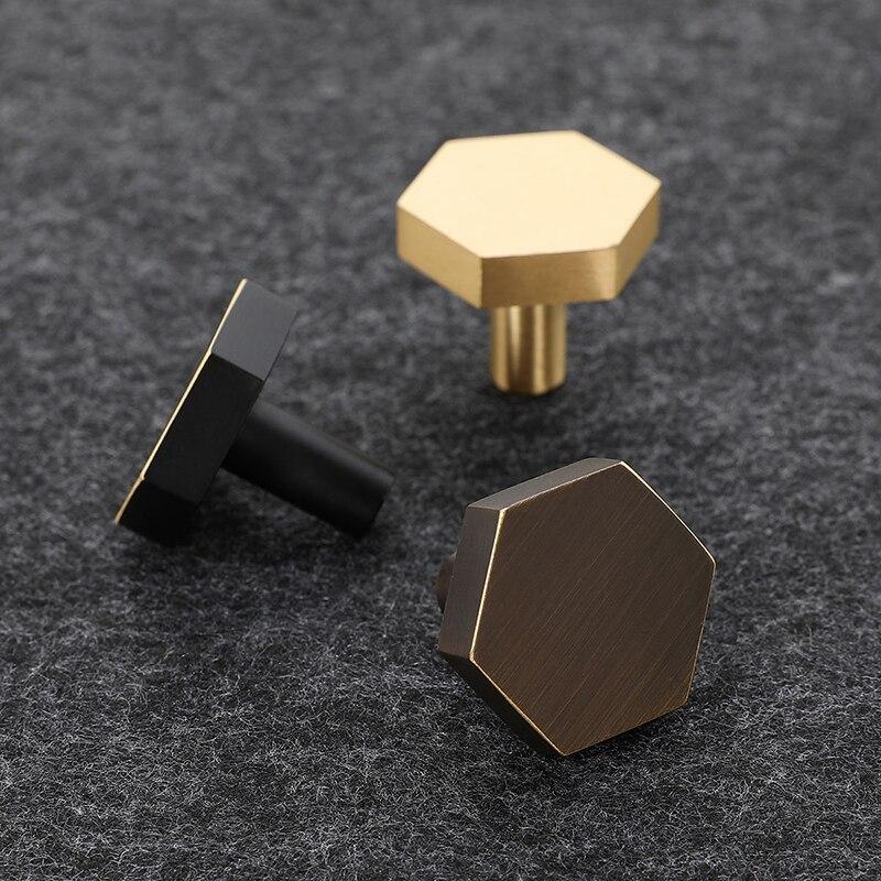 Gouden Antieke Brons Messing Hexagon Knoppen Kabinet Knop
