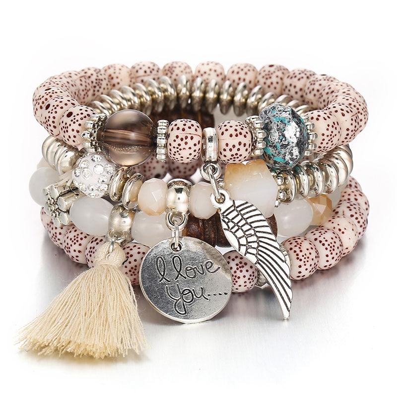 4pcs/set Fashion Angel Wings Boho Bracelets & Bangles Women Beaded Bracelet With Colorful Gem Long Wrap Bracelet for Women 2019