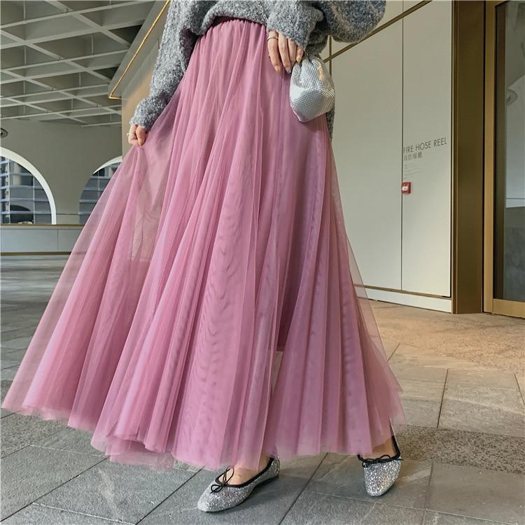 Sherhure 2020 Pure Color Women Summer High Waist Boho Maxi Skirt A-Line Mesh Long Skirt Casual Clothes Faldas Jupe Femme Saia