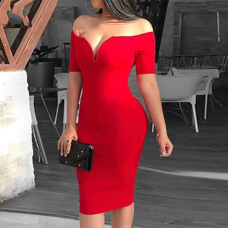 2019 Female <font><b>Sexy</b></font> <font><b>Deep</b></font> <font><b>V</b></font>-neck Off Shoulder Bodycon <font><b>Dress</b></font> Women Short Sleeve Solid Sheath Midi <font><b>Dress</b></font> image
