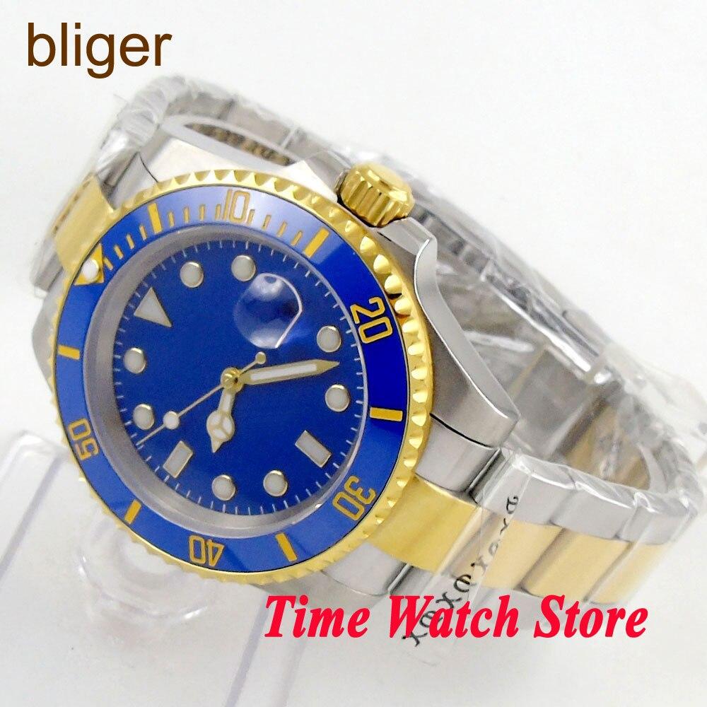 Bliger 40mm mis5 bleu sterial cadran date lumineuse saphire verre or bague céramique lunette mouvement automatique montre pour hommes BL135