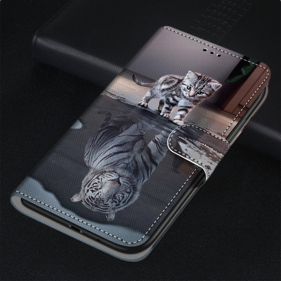 Animal Leather Phone Case For Covers <font><b>Xiaomi</b></font> <font><b>Redmi</b></font> Note 3 4 4X 5A 5 Pro <font><b>6</b></font> Pro 7 8 Pro <font><b>Redmi</b></font> Go Y2 S2 Cat Lion Horse Monkey P08F image