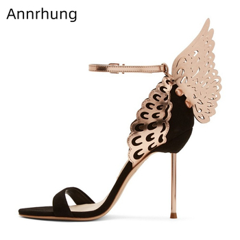 Walking Butterfly-wing Gladiator Sandals Women Metal Thin Heels One-strap Open Toe Cover Heel Black Suede Banquet Shoes Woman