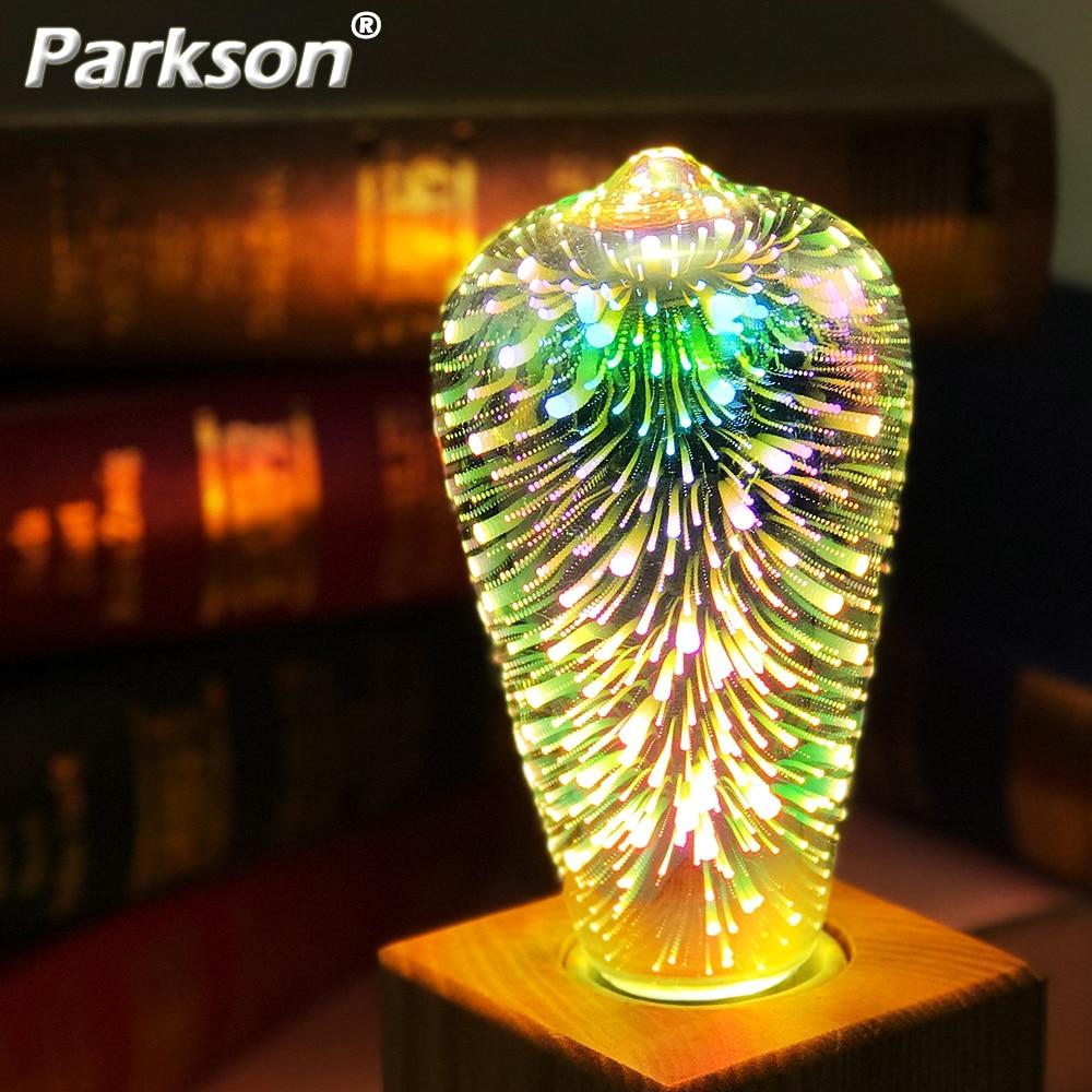 3D LED Light Bulb E27 220V ST64 G80 G95 G125 A60 Diamond Heart Decoration LED Lamp Holiday Lights Novelty Christmas Lamp