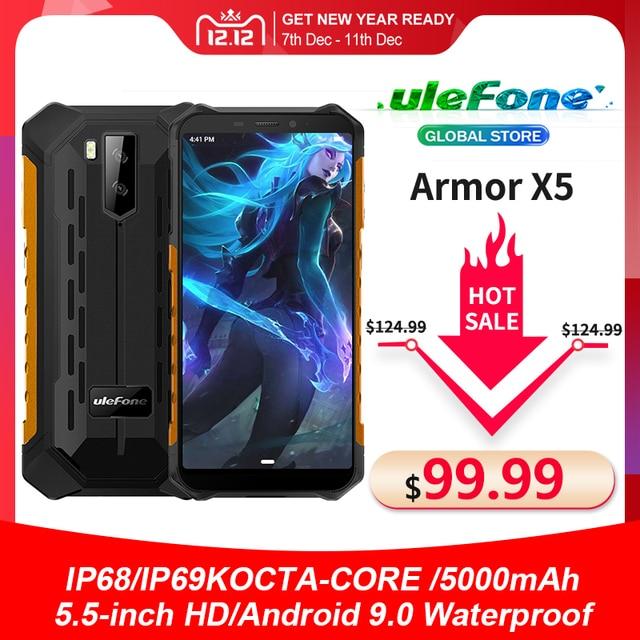 Ulefone Armor X5 Smartphone MT6762 Octa Core IP68 Waterproof Android 10 Face Unlock 3GB 32GB OTG NFC 4G LTE Global Version Phone