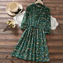Japanese Mori Girl Autumn Winter Kawaii Dress Ruffled Collar Polka Dot Navy Blue Green Vestido Mujer Vintage Sweet Dress DC679(China)