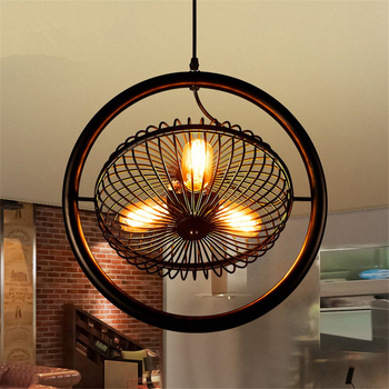 American Village Wrought Iron Fan Shape Pendant Lights For Bar Cafe Dining Room Industrial Decor Restaurant Lighting Fixtures
