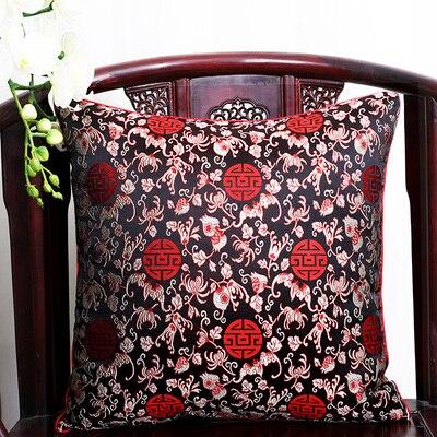 Чехол для подушки для автомобильного стула с цветами 40x40 см 45x45 см 50*50 60*60 китайские красочные диванные Декоративные Чехлы для подушек, шелковая атласная наволочка - Цвет: black shiliu