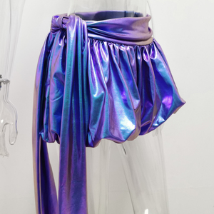 Image 4 - JillPeri Sexy Sparkle Lantaarn Shorts met Lange Drop Fashion Kleurrijke Ultra Korte Nacht Club Wear Celebrity Party Bodems Shorts