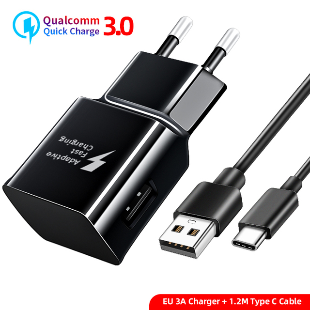 KMPTE 18W QC3.0 For Samsung S20 S10 S8 S9 Plus Fast Charger Power Adapter Type C Cable For Galaxy A30 A40 A50 A70 A60 A8 Note 10
