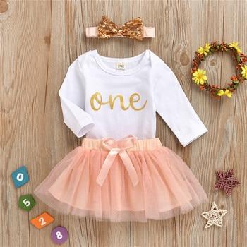 Primavera Verano dulce bebé 1 er cumpleaños disfraces arco diadema tutú Vestido de manga larga vestidos de fiesta para niñas bebé 1 año ropa