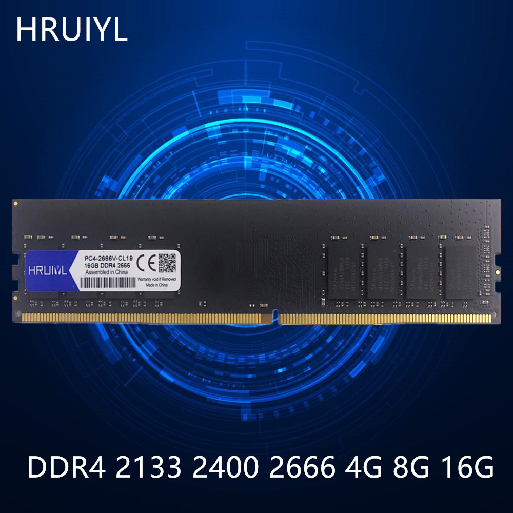 HRUIYL Desktop RAM DDR4 4GB 8GB 16GB 2133 2400 2666MHZ DIMM Memory Sticks Original Chip 1.2V 288Pin PC Computer Memoria DDR 4 image