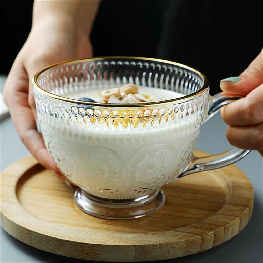 Transparent Creative Glass Coffee Tea Mug Dessert Breakfast Milk Cups With Handle Household Drinkware