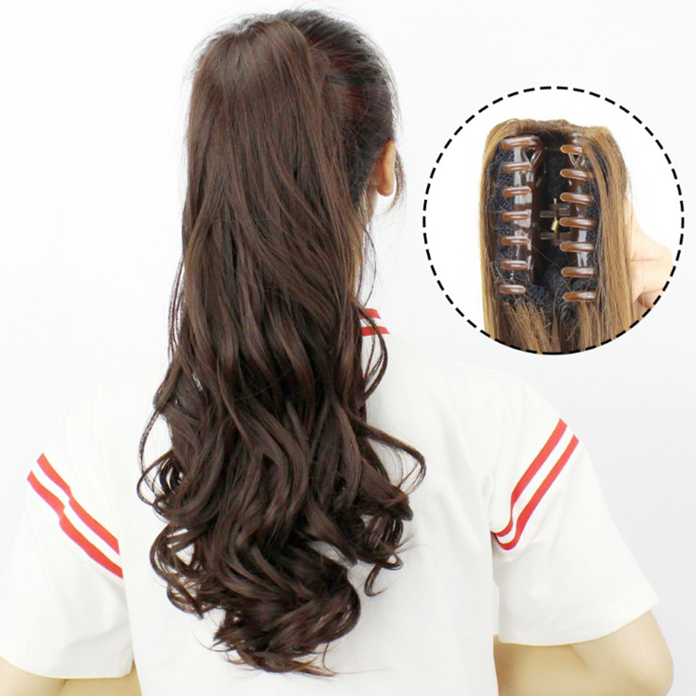Soowee 60cm Curly Clip In Hair Ponytail Synthetic Hair Extensions Claw Ponytails Little Pony Tail Horse Hair Clips For Women