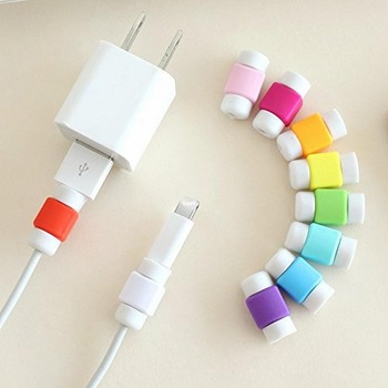 10PCS USB Cable Protector Colorful Cover Case For Apple Iphone 4 4S 5 5S 5C 6 Plus 6S SE Charger Data Cable Earphone Accessories image