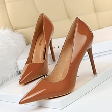 shallow High Heels shoes Women Patent leather slip on pumps Pointed toe slides zapatos mujer black red nude brown camel white