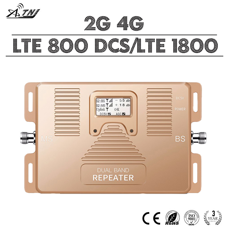 Smart 4G+4G LTE Signal Amplifier 4G LTE 800 LTE DCS 1800 Cellular Signal Booster 70dB Gain LCD Display 2G 4G Dual Band Repeater