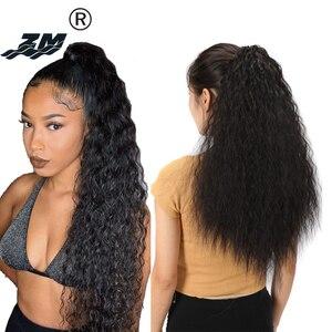 ZM 65 см длинный афро кудрявый коготь на конском хвосте светильник/темно-коричневый синтетический зажим для наращивания волос конский хвост ...