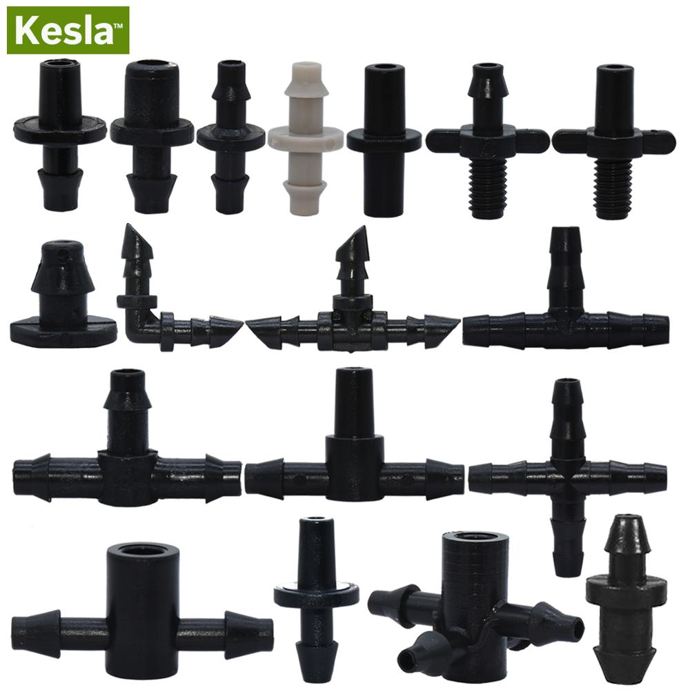 KESLA Garden Water Connector Drip Irrigation For 1/4'' & 1/8'' Tubing Hose Accessories Joint Barbed Tees Cross Eng Plug Adaptors