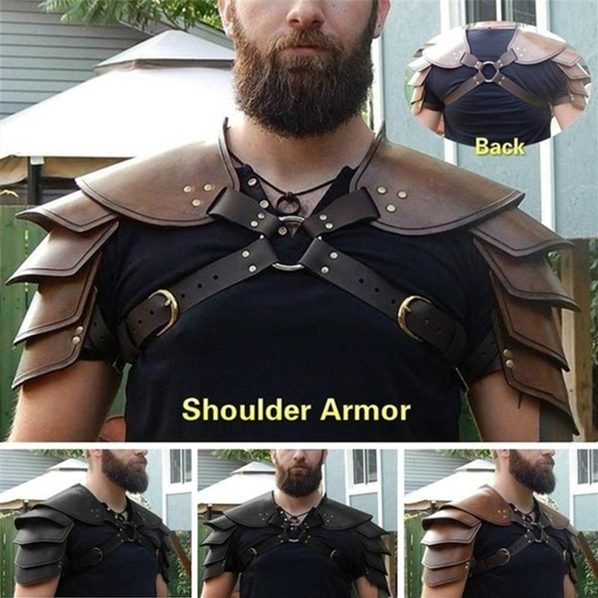 2 Types Steampunk Medieval Leather Pauldrons Vintage Spartacus Leather Armour Renaissance Gladiator Warrior Leather Shoulder