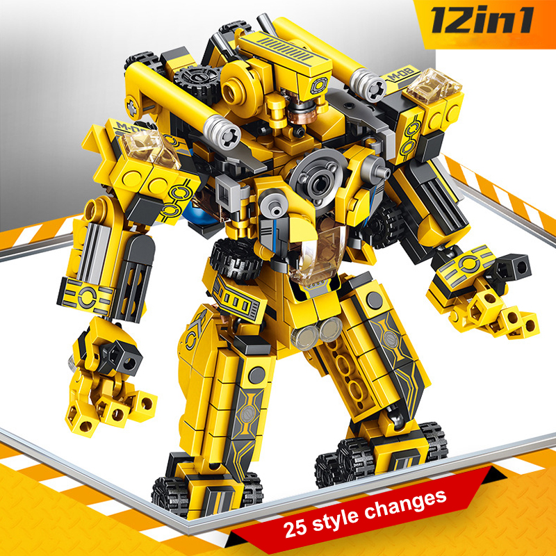 576pcs 12 in1 Transformation Robot Building Bricks Creatives Assembling Educational figure Blocks Gift Toys for Children