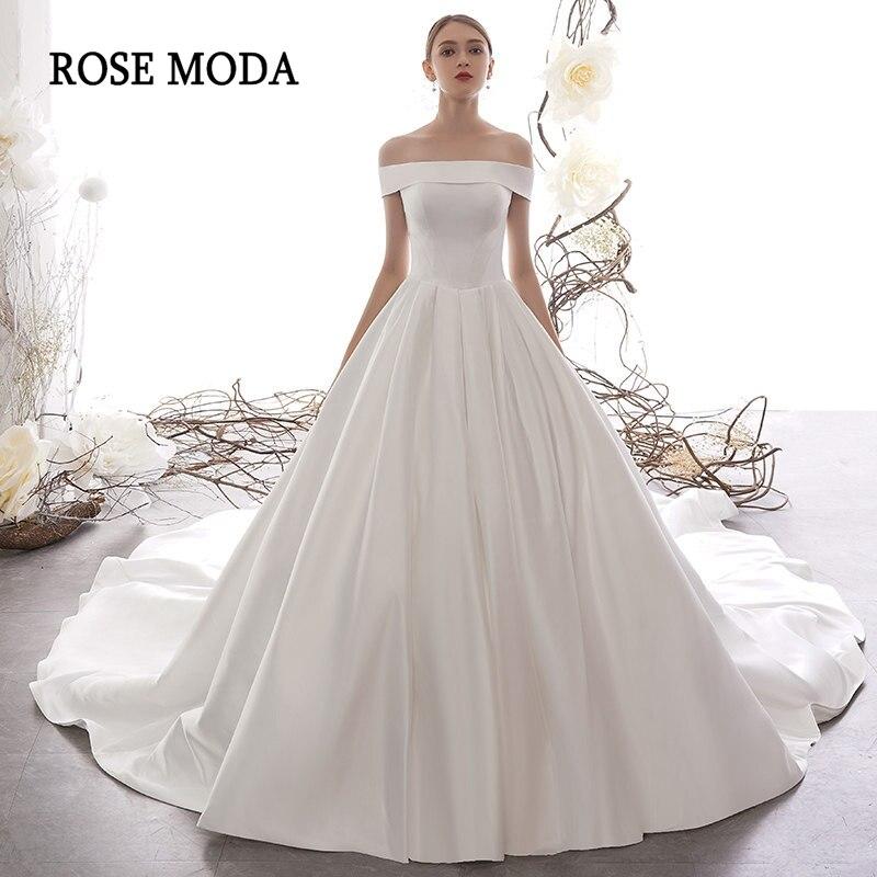 Rose Moda Off Shoulder Satin Royal Wedding Dress 2020 Lace Up Back Long Train Church Wedding Gowns
