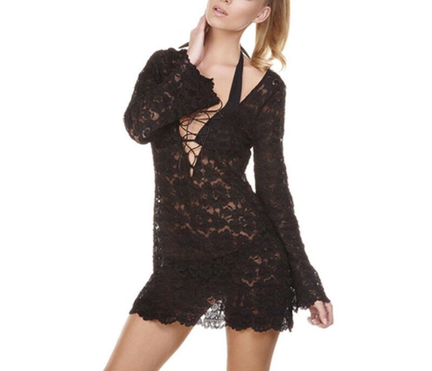Women Lady Lace Crochet Bikini Cover Up Swimwear Bathing Summer Beach Mini Dress Sexy Chalaza Hollow Out Fluoroscopy Mini Dress