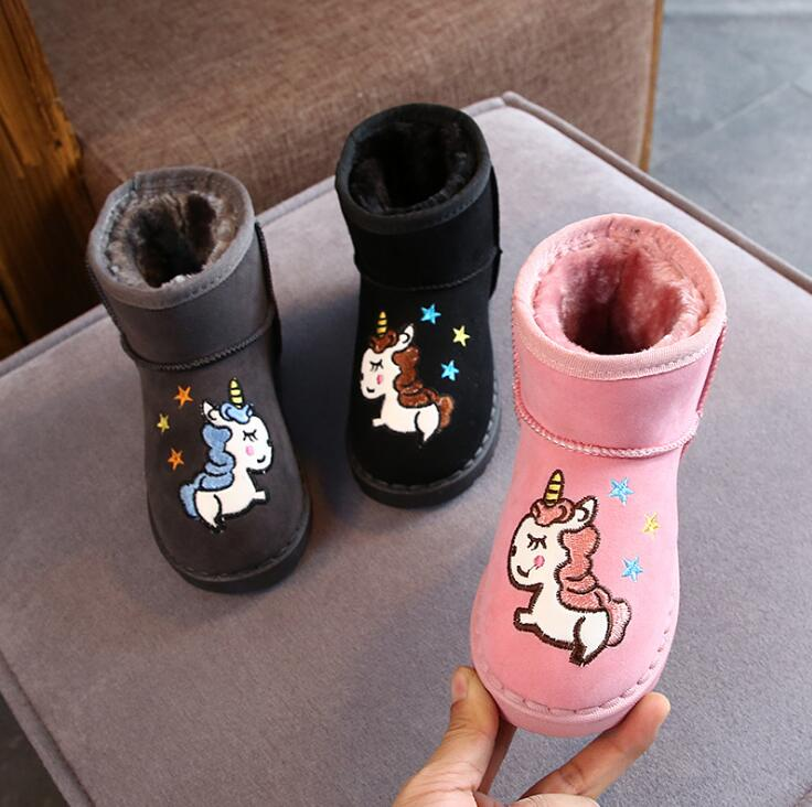 Unicorn Printing Kids Cartoon Snow Boots For Girls Boys New Winter Children Cute Boots With Plush Baby Warm Shoes Size 25-36