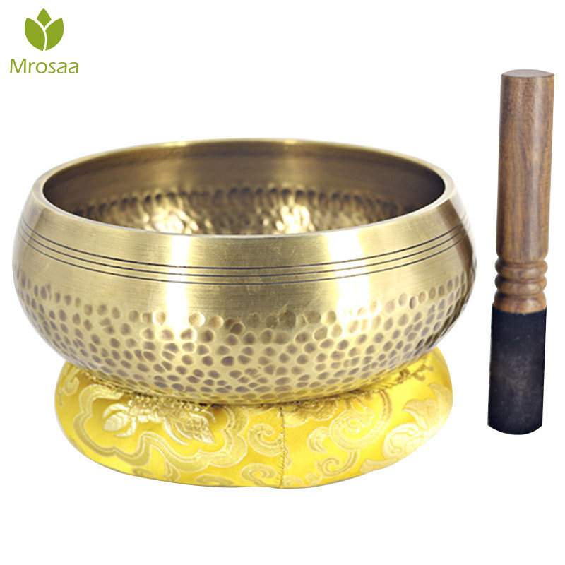 Brass Chime Bronze Qing Buddha Sound Bowl Nepal Tibet Chant Yoga Meditation Chanting Bowl Handicraft Sanskrit Brass Singing Bowl