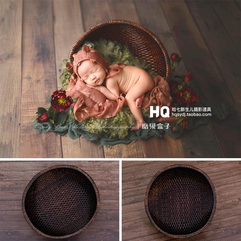 2020 Newborn Photography Rattan Basket Baby Photo Shooting Props Infant Photo Studio Accessories