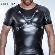 Yufeida Fashion Mens Undershirts Pu Leer T-shirts Sexy Fitness Black Tops Sexy Homo Slijtage Hip Hop Mannen Casual Kleding clubwear(China)