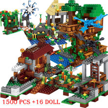 1500 Pcs Cijfers Bouwstenen Lepining Dorp Stad Boom Huis Waterval Warhorse Jungle Windmolen Fortress Bricks Speelgoed(China)