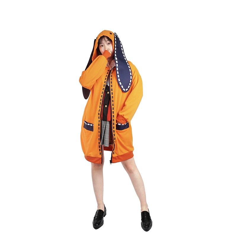 Anime Kakegurui Compulsive Gambler Runa Yomozuki Cosplay Costume Runa Yomozuki Cute Hoodie Coat Jacket And Wig Cosplay Costume