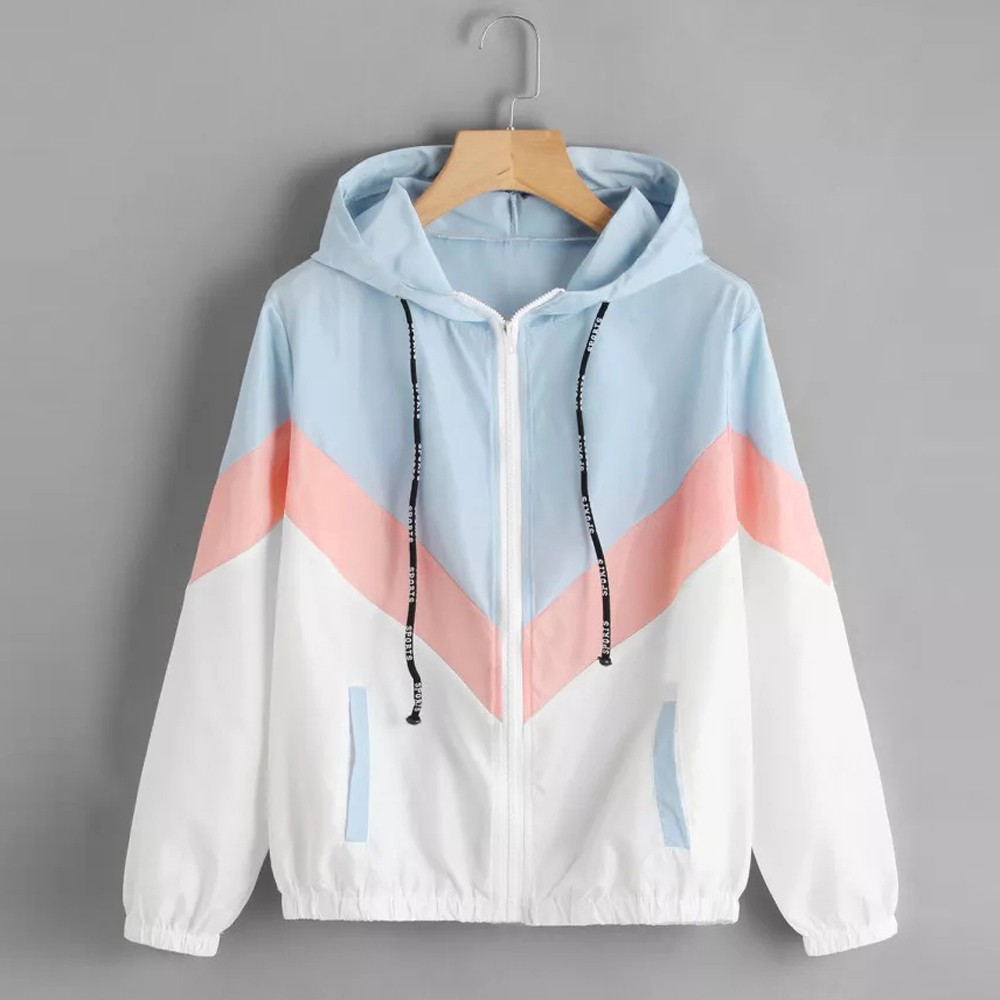 Hooded thin jacket winter ladies stitching contrast color long sleeved patchwork thin tights hooded zipper casual sports jacket