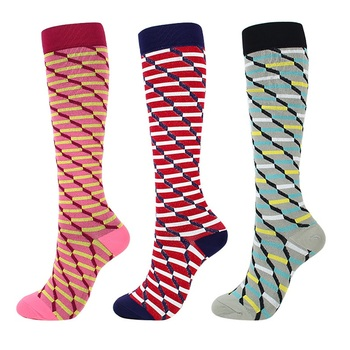 Knee High Printed Compression Socks for Unisex Suitable for Running and Flight Travels