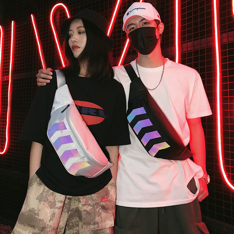 Man And Woman Waist Bag Fanny Pack Streetwear Canvas Belt Bags Chest Packs Fashion Reflective Hip Hop Pack Messenger Bag