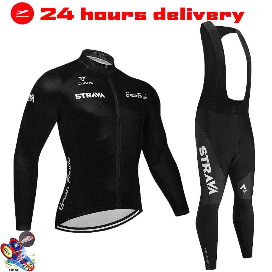 2021 strava camisa de ciclismo dos homens conjunto manga longa mtb bicicleta roupas maillot ropa hombre bicicleta wear 19d gel bib calças
