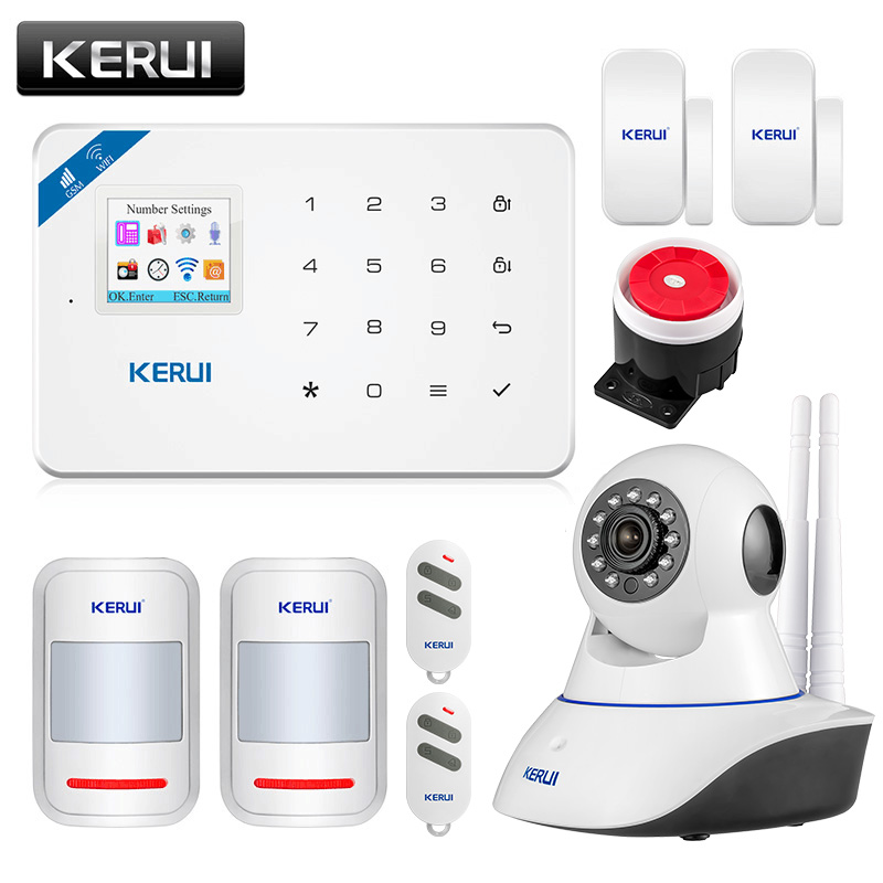 KERUI W18 WIFI Wireless GSM Alarm system Eas Kit APP Fernbedienung Home Security Alarm Host mit Sirene fenster sensor ip Kamera