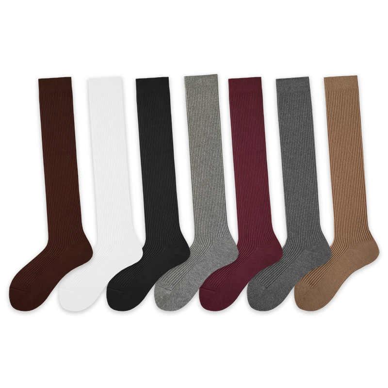 Осенне-зимние женские гольфы из чистого хлопка, женские носки, носки под форму, однотонные черные носки